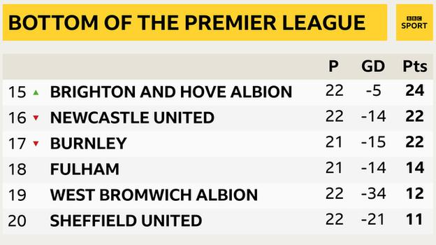 snapshot of the bottom of the Premier League: 15th Brighton, 16th Newcastle, 17th Burnley, 18th Fulham, 19th West Brom & 20th Sheff Utd
