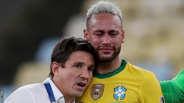 Neymar reacts after Brazil lose to Argentina in the 2021 Copa America final