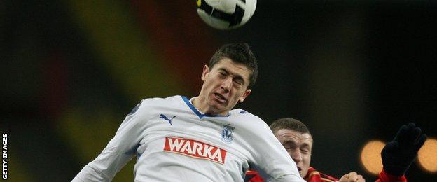 Robert Lewandowski playing for Lech Poznan