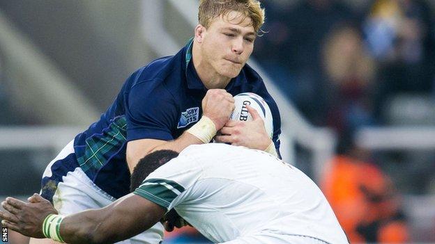 Dave Denton in action for Scotland