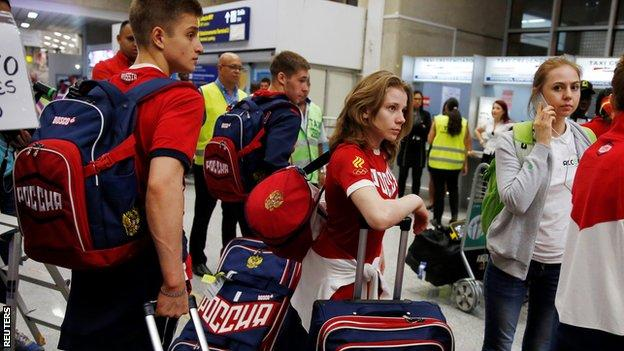 Russian athletes began to arrive in Rio on Monday