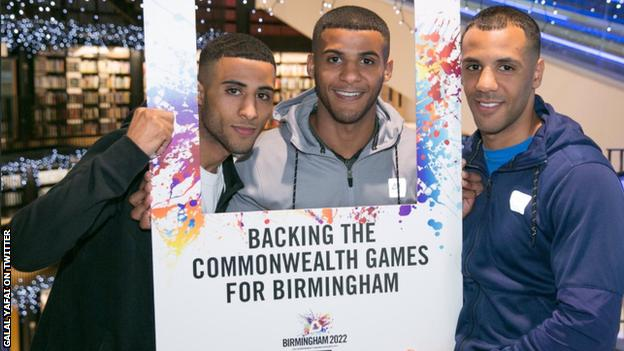 Galal (left), Gamal (centre) and Kal Yafai threw their collective weight behind Birmingham's bid to host the 2022 Commonwealth Games