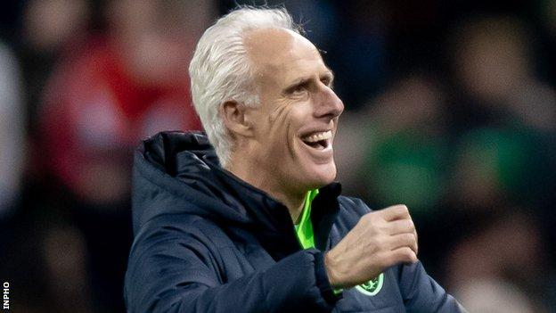 Mick McCarthy celebrates the Republic's win after the final whistle