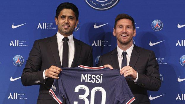 Lionel Messi and Nasser Al Khelaifi