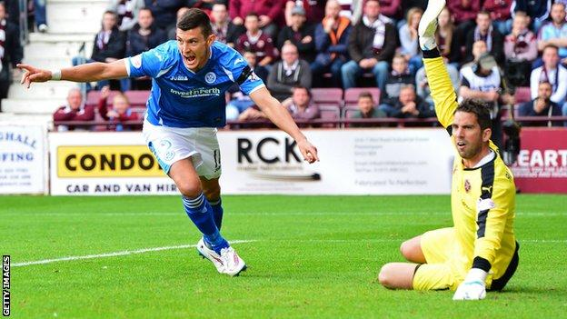 Graham Cummins wheels away after scoring on debut for St Johnstone against Hearts