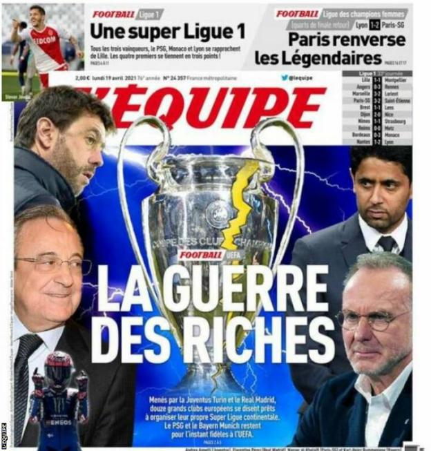 L'Equipe refers to the news as 'war'