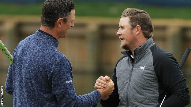 Justin Rose and Eddie Pepperell shake hands after the final round of the Players Championship