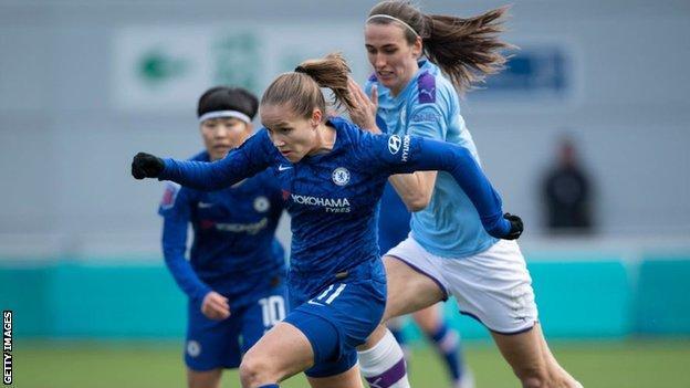Chelsea's Guro Reiten and Manchester City's Jill Scott in action last season