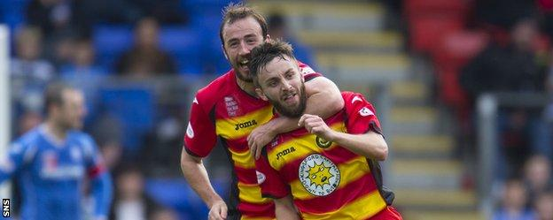 Partick Thistle's Steven Lawless (right) scored in Perth