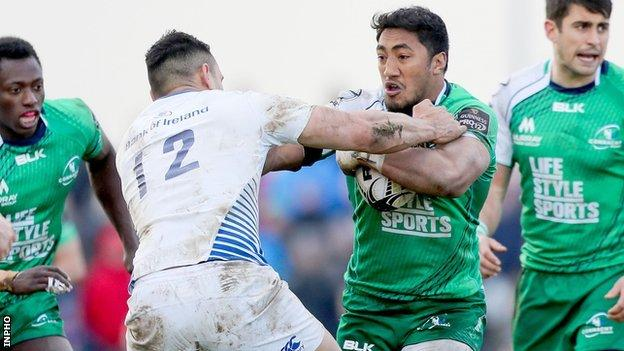Ben Te'o and Bundee Aki in action during the Irish interprovincial derby at the Sportsground