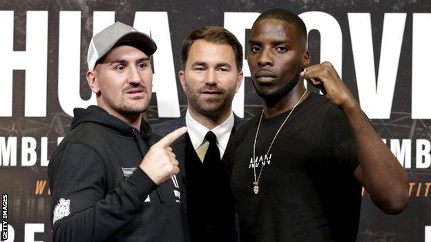 Promoter Eddie Hearn (centre), Lawrence Okolie (right) and Matty Askin (left) at the press conference before Okolie's fight with Askin