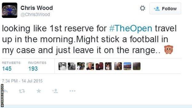 Chris Wood's tweet