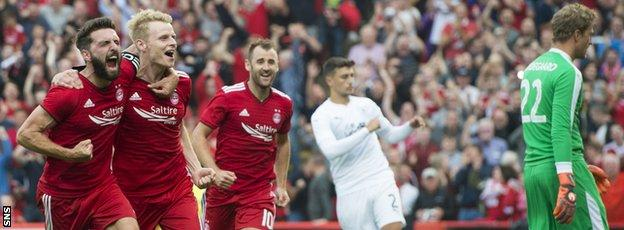 Aberdeen took Burnley to extra time before being knocked out in the Europa League qualifiers