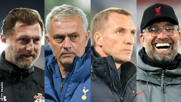 Southampton yöneticisi Ralph Hasenhuttl, Tottenham yöneticisi Jose Mourinho, Leicester patronu Brendan Rodgers ve Liverpool'dan Jurgen Klopp