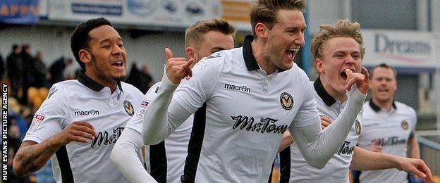 Ryan Bird celebrates after scoring for Newport