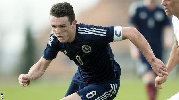 John McGinn playing for Scotland's Under-21 side