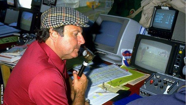 Peter Alliss commentating on the The Open in 1985