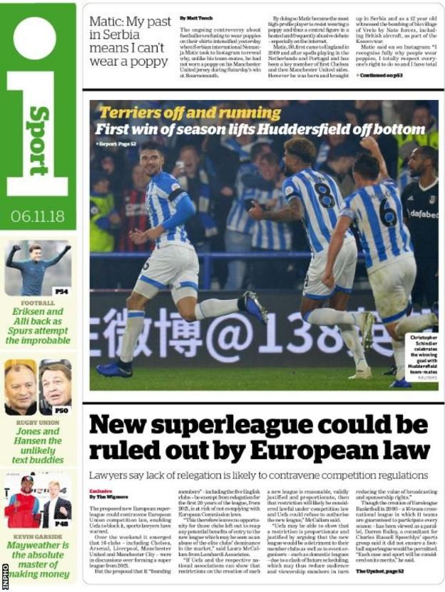 Tuesday's i Sport back page