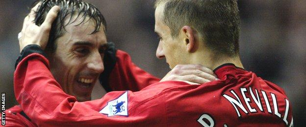 Phil Neville (right) celebrates scoring a goal for Manchester United against Blackburn in 2002 with brother Gary (left)
