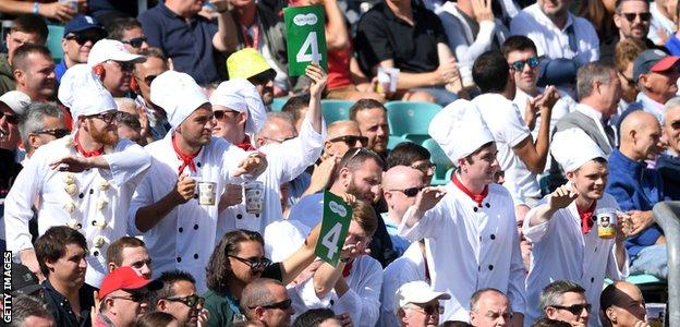 Cricket fans dressed as chefs in Alastair Cook's final Test