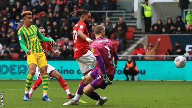 West Brom forward Callum Robinson scores at Bristol City