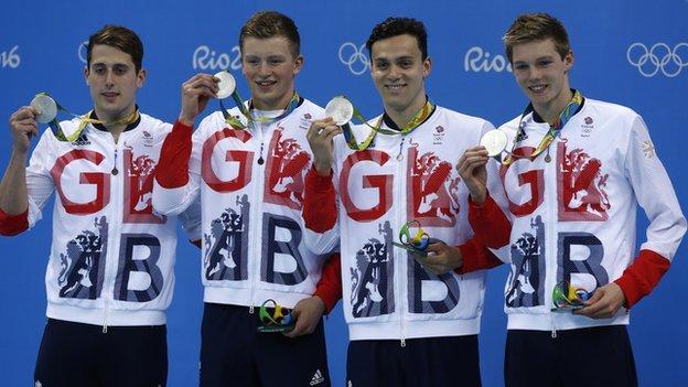 Chris Walker-Hebborn, Adam Peaty, James Guy and Duncan Scott