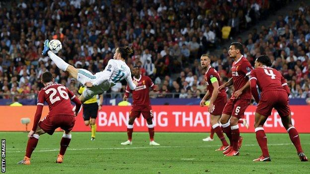 Gareth Bale scores with an overhead kick