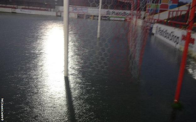 Accrington Stanley's pitch under water