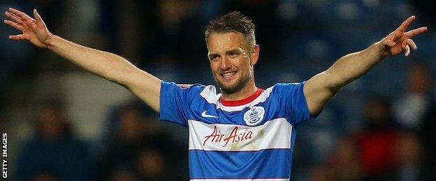 Clint Hill celebrates with QPR