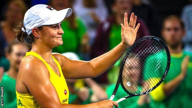 Ashleigh Barty celebrates