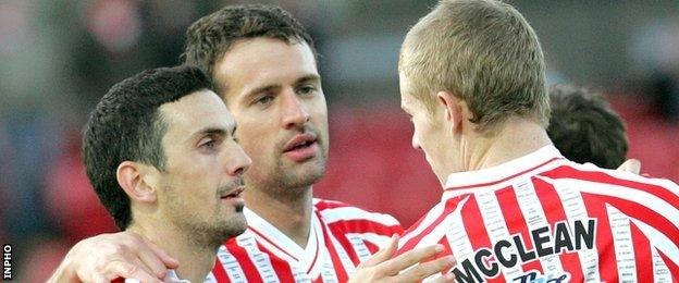 Mark Farren pictured with Ciaran Martyn and James McClean during a Derry City match in 2009