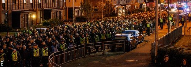 Lazio fans were escorted to the stadium by police