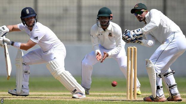 Ben Duckett batting against the Bangladesh Cricket Board XI