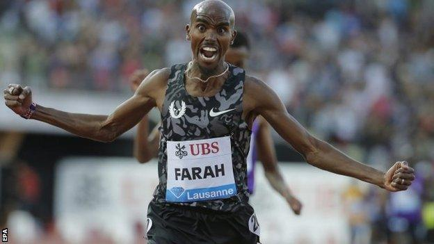 An emotional Farah celebrated wildly as he crossed the finishing line