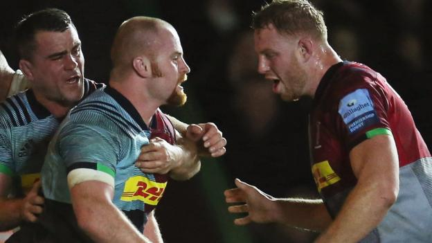 Premiership: Harlequins beat Exeter Chiefs 28-26 to end leaders' unbeaten start thumbnail