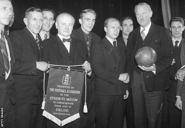 6th December 1945: The Football Association presenting a commemorative pennant to Dynamo Moscow at the farewell party held for the football team after their successful tour of Britain