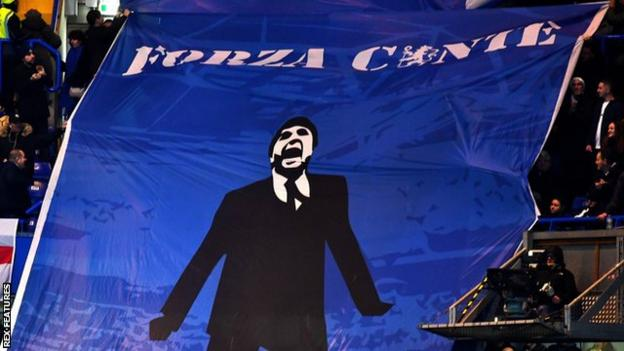 Chelsea fans displayed a banner in support of Antonio Conte during the game