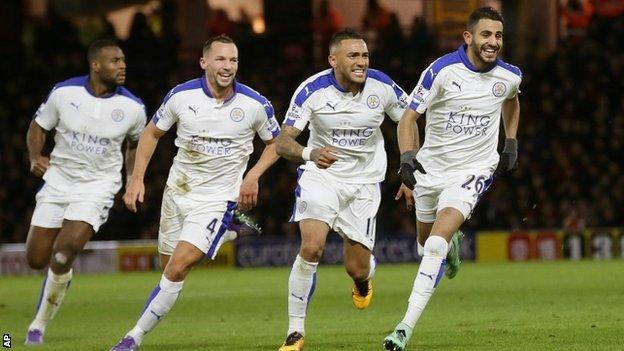 Riyad Mahrez celebrates scoring for Leicester
