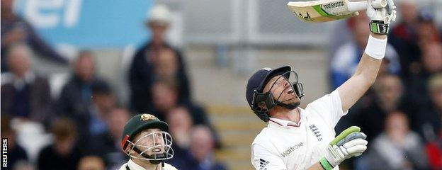 Ian Bell miscues a shot