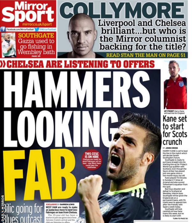 The Daily Mirror leads on West Ham's pursuit of Cesc Fabregas
