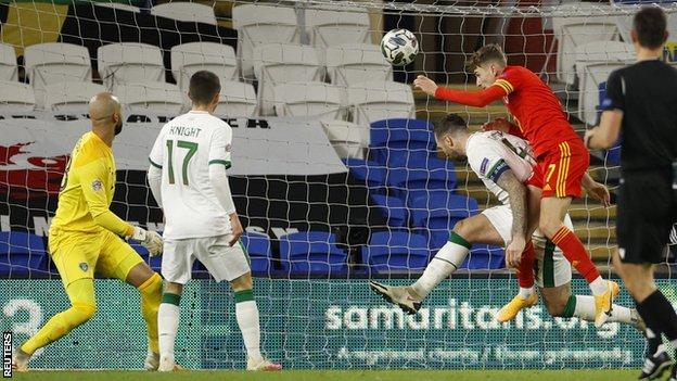 David Brooks broke the deadlock for Wales with a powerful header