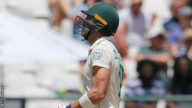South Africa captain Faf du Plessis is dejected after getting out on day five of the second Test against England