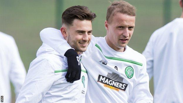 Celtic's Patrick Roberts and Leigh Griffiths share a training-ground joke