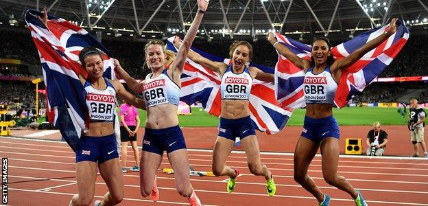 Great Britain's world silver medal relay team