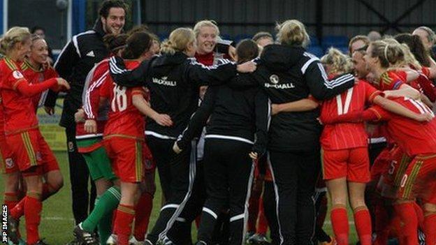 Wales women celebrate their 4-0 win against Kazakhstan