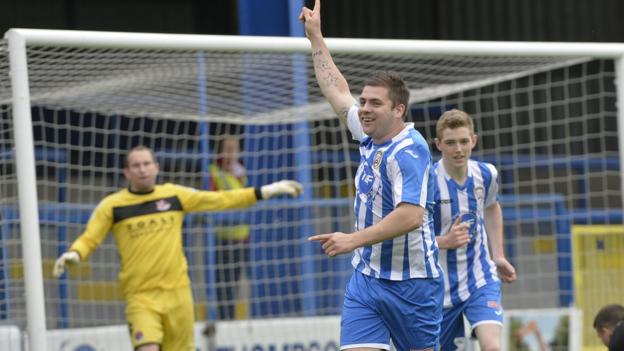 Celebration time for James McLaughlin after giving Coleraine the lead against champions Crusaders at the Showgrounds