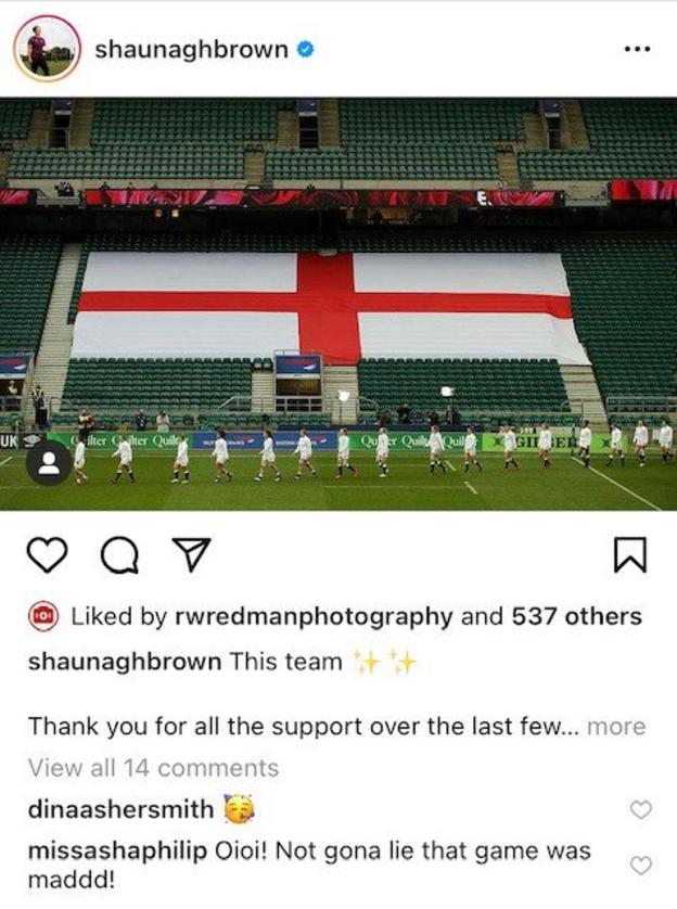An Instagram post by Shaunagh Brown with comments from Dina Asher-Smith (a party hat emoji) and Asha Philip (Oioi! Not gona lie that game was mad!)