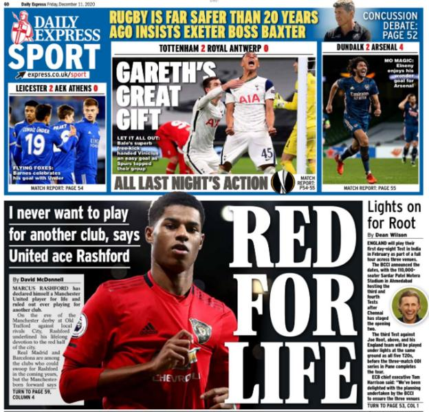 Friday's back pages: Daily Express - 'Red for life'