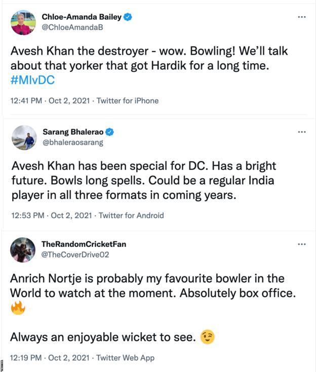 Tweets praising Delhi Capital bowlers Avesh Khan and Anrich Nortje