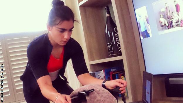 Jamie Chadwick on her exercise bike at home